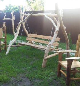 Качели садовые,деревянное кресло из дуба, продам