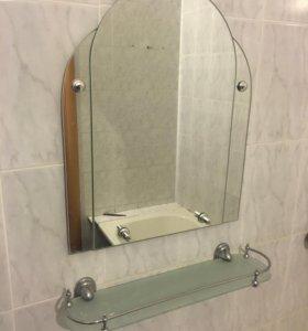 Зеркало с подставкой в ванную