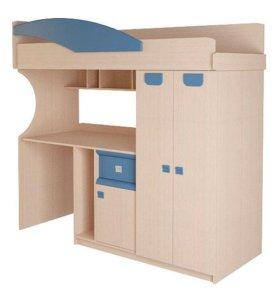 Детская двухъярусная кровать со столом и шкафом