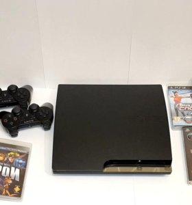 PS3 / Playstation 3 + 14 игр и геймпады
