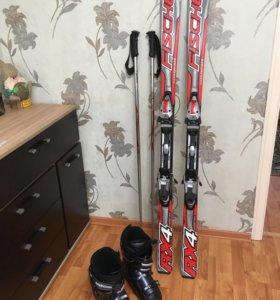 Горные лыжи Fisher, ботинки и палки ROSSIGNOL