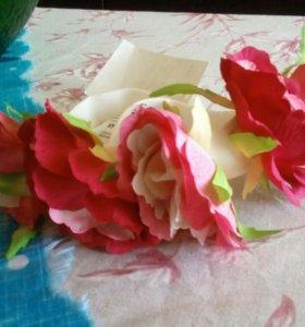 Ободок H&M на резинке с цветами