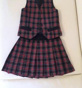 Школьная форма юбка и жилетка