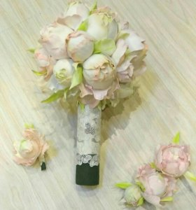 Свадебный букет+цветы в причёску+бутоньерка