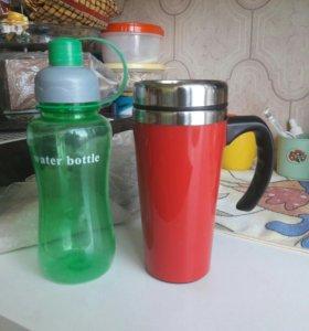 Термос-кружка +бутылка для воды в подарок!