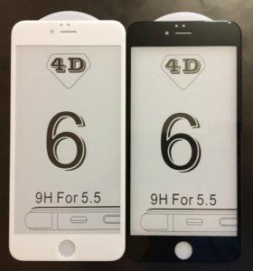Защитное стекло на iPhone 6 Plus 4D