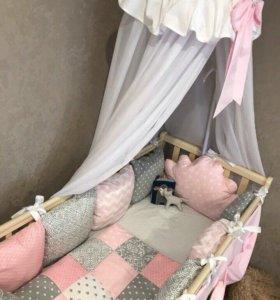 Комплект бортики в кроватку для девочки