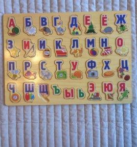 Игрушки для малышей алфавит деревянный пазл