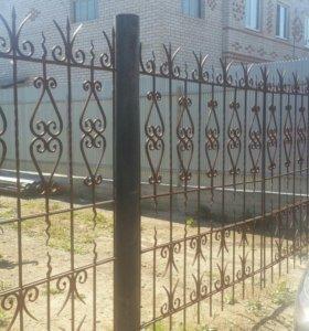 Кованные ворота+ калитка+ забор