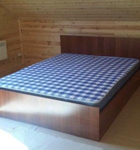 """Кровать """"А-Итальянский орех 160 см"""" с матрасом."""