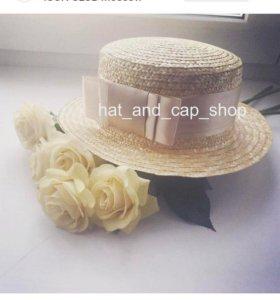 """Шляпа """"канотье"""" из натуральной соломки"""