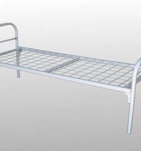 Кровать металлическая белая односпальная,разборная