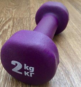 Гантель для занятий 2 кг (1 штука)