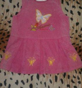 Вельветовый сарафан для девочки (2-4)года