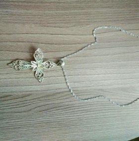 Крестик с цепочкой серебро