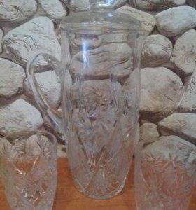 Хрустальный кувшин+ 2 стакана.