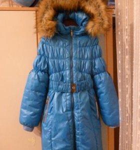 Пальто зимнее для девочки.Полукомбинезон.