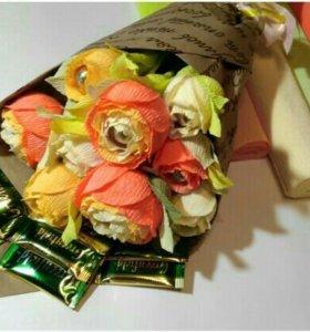 Букеты из конфет ручной работы, сладкие подарки