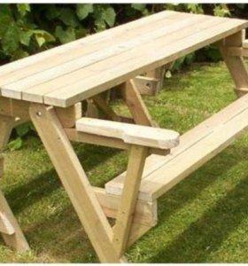 Стол-скамейка трансформер для дома и дачи