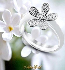 Кольцо керамическое с серебром
