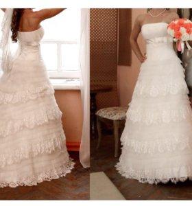 Дизайнерское свадебное платье в отличном состоянии