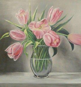 """Картина маслом """"Тюльпаны"""", 40*50 см"""