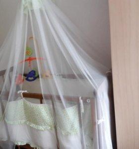 Детская кроватка + бортики, балдахин.