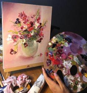 Цветы в вазе, масло