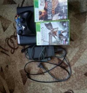 Xbox 360 120gb+джостик и 2 игры(не стандартных)