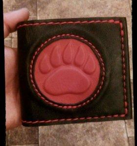 Мужской кошелёк из комбинированной красной кожи