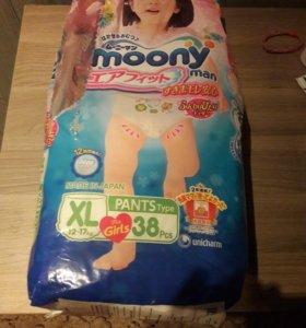 Трусики подгузники Moony. XL.для девочек. 12-17 кг