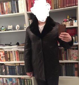 Мужское кожаное пальто на меху, воротник норка