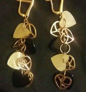 Серьги золотые с перламутром