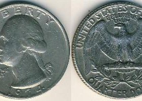 Liberty quarter dollar 1979 перевертыш.