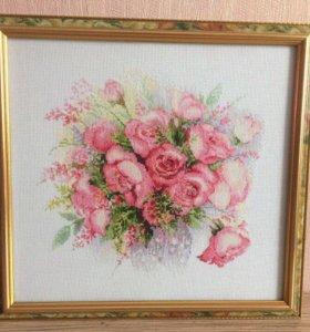 """Картина вышитая крестиком """"Акварельные розы"""""""