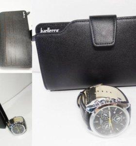 Мужской кошелек и часы в подарок