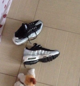 Nike air max 95 silver and black женские кроссовки