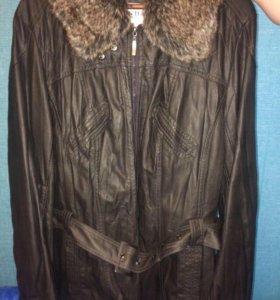 Новая кожаная куртка большого размера, 56