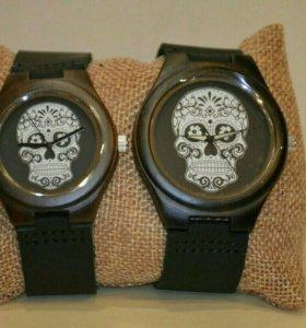 Парные деревянные часы