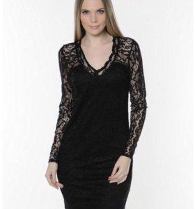 Чёрное кружевное платье новое