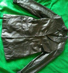 Пиджак-пальто кожанное