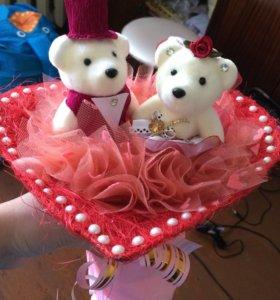 Свадебный букет невесты с мишками