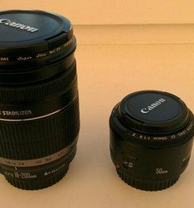 Объектив Canon Lens EF 50 mm и Canon EFS 18-200 mm