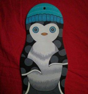 Пингвин, деревянный декор
