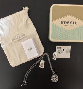 FOSSIL (цепочка с кулоном и серьги)