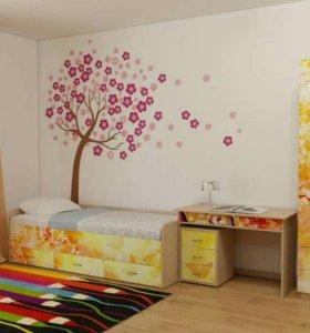 Новая Детская кровать Бабочки (КР/Б-06)
