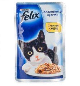 Влажный корм для кошек FELIX AGAIL курица, 85 гр