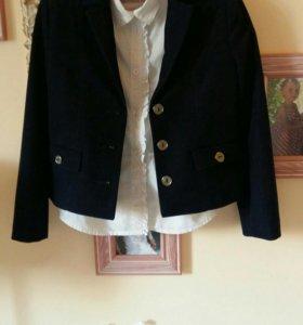 Пиджак +блузка школьный(синий)