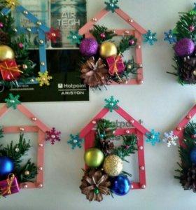 Новогодние домики-магниты