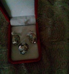 Серьги кольцо цепочку из серебра